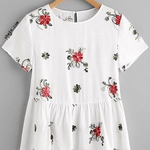SHEIN white embroidered floral peplum blouse